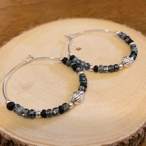 Black and Gray Beaded Hoops